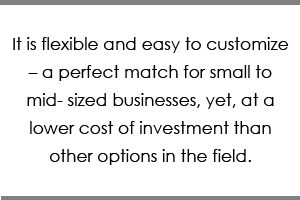 It is flexible and easy to customize – a perfect match for small to mid- sized businesses, yet, at a lower cost of investment than other options in the field.