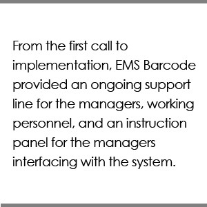 From the first call to implementation, EMS Barcode provided an ongoing support line for the managers at the clinic, working personnel, and an instruction panel for the clients interfacing with the system.